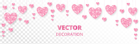 Pink hearts frame, border. Vector glitter isolated on white. Great for decoration of Valentine and Mothers day cards, wedding invitations, party posters and flyers, website and social media headers.