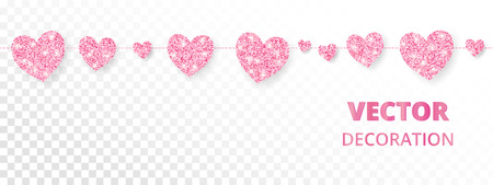 Pink hearts garland, seamless border. Vector glitter isolated on white. Great for decoration of Valentine and Mothers day cards, wedding invitations, party posters and flyers, website headers. Ilustração