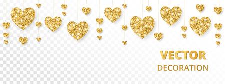 Golden hearts border Vector glitter illustration