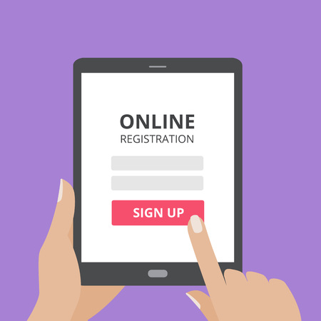 Hand touching screen of tablet computer with online registration form and sign up button. Vettoriali
