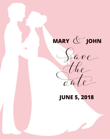 Save the date card with bride and groom silhouettes and hand written custom calligraphy. Wedding invitation template. Free font used - Open Sans.