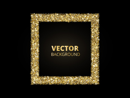 Festive golden sparkle background. Glitter border, rectangle frame. Black and gold vector dust. Great for valentine, christmas and birthday cards, wedding invitations, party posters. Vettoriali