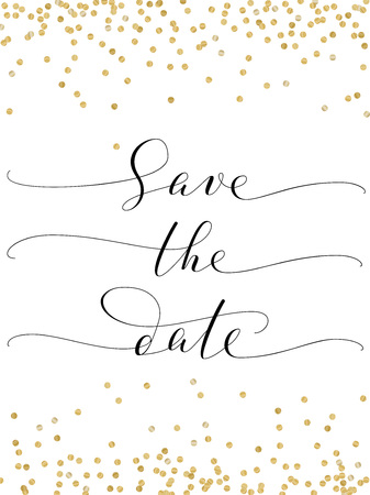 Save the date card with glitter falling confetti decoration. Hand written custom calligraphy on white.