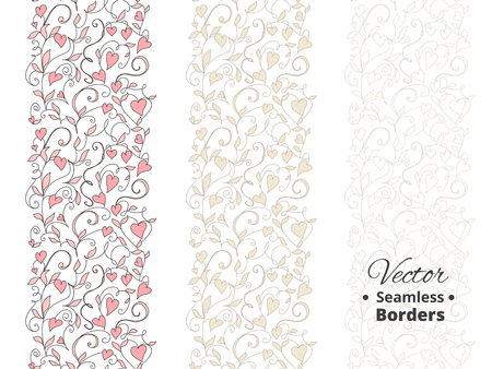 Seamless love borders, floral pattern with hearts. Tileable, can be infinitely repeated. Great for wedding invitations, valentine day cards, banners, headers. Illustrator swatch in the Swatches panel. Illusztráció