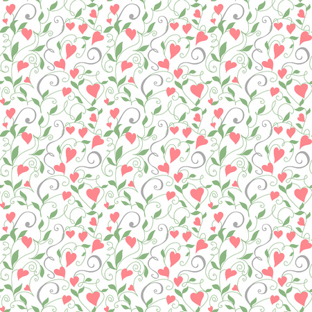 Seamless love background, floral pattern with hearts. Great for wedding invitations, valentine day cards, banners, wrapping paper. Illustrator swatch available in the Swatches panel.