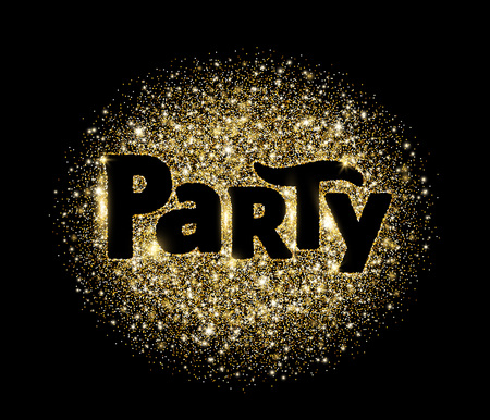 Party word, glitter banner with typography. Sparkles on black background, golden vector dust. Great for Christmas and New Year, birthday and wedding party invitations, club posters.