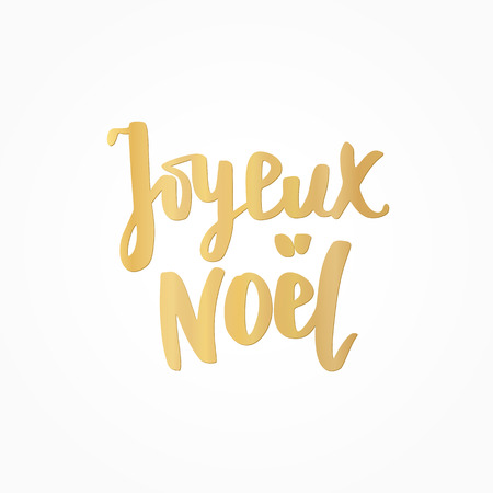 Joyeux noel golden text. Holiday greetings french quote. Great for Christmas cards, gift tags and labels. Illusztráció
