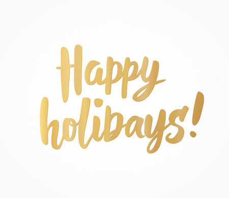 Happy holidays golden text on white. Great for Christmas cards, gift tags and labels.