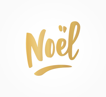 Noel hand drawn golden letters isolated on white. Great for Christmas gift tags and labels Illusztráció