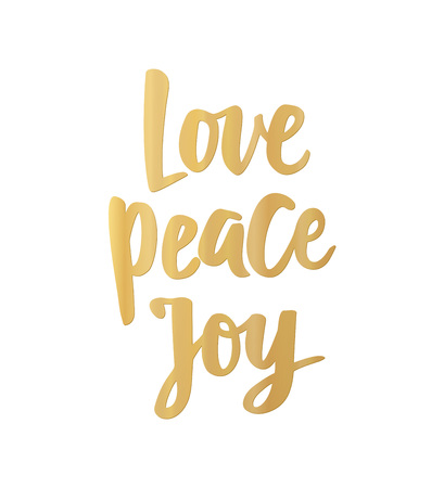 Love Peace Joy card. Hand drawn lettering. For Christmas and New Year banners, posters, gift tags and labels.
