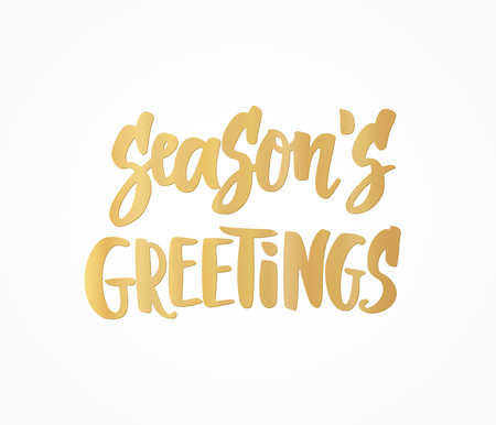 Seasons greetings card. Golden hand drawn lettering. Great for Christmas gift tags and labels