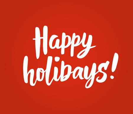 Happy holidays text on red background. Great for Christmas cards, gift tags and labels. Illusztráció