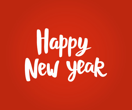 Happy New Year card. Hand drawn lettering. Great  for Christmas banners, posters, gift tags and labels. Illusztráció