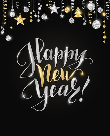 Happy New Year card with hand written lettering. Gold and silver glitter border, garland with hanging balls and ribbons.