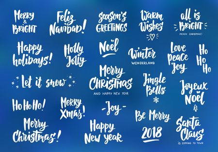 Set of holiday greeting quotes and wishes. Hand drawn text. Great for cards, gift tags and labels, photo overlays, party posters. Illusztráció