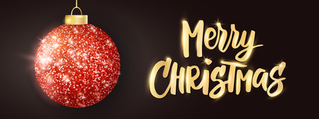 Hanging Christmas red ball on black background. Sparkling metal glitter bauble. Merry Christmas hand drawn text