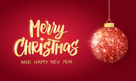 Hanging Christmas red ball on red background. Sparkling metal glitter bauble. Merry Christmas hand drawn text