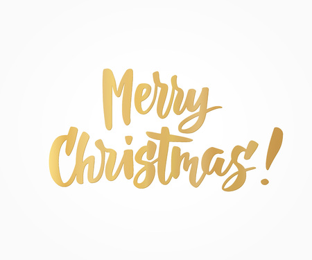 Merry Christmas card. Golden hand drawn lettering. Great for gift tags and labels.