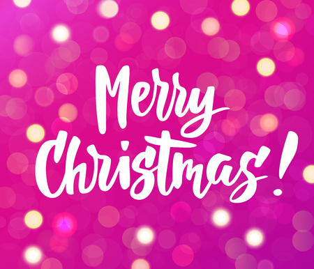 Merry Christmas text. Holiday greetings quote. Pink background with sparkling glowing lights. Bokeh effect. Stock fotó - 114739034