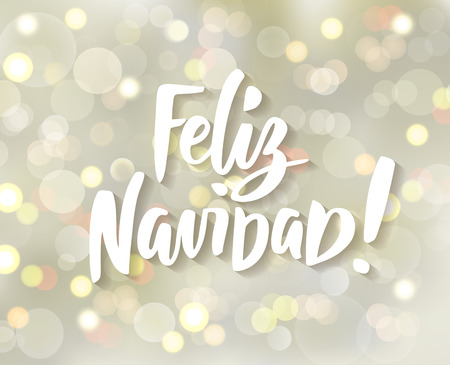 Feliz Navidad - spanish Merry Christmas hand drawn text. Holiday greetings quote. White and gold sparkling glowing lights. Background with bokeh effect. Stock fotó - 114739039