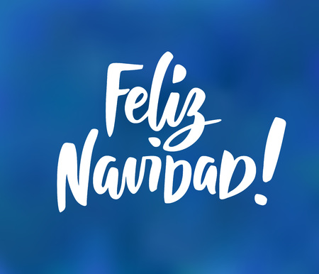 Feliz Navidad - spanish Merry Christmas text. Hand drawn holiday greetings quote on blue background. Stock fotó - 114740354