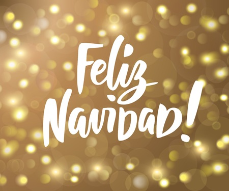 Feliz Navidad - spanish Merry Christmas hand drawn text. Holiday greetings quote. Golden sparkling glowing lights. Background with bokeh effect.