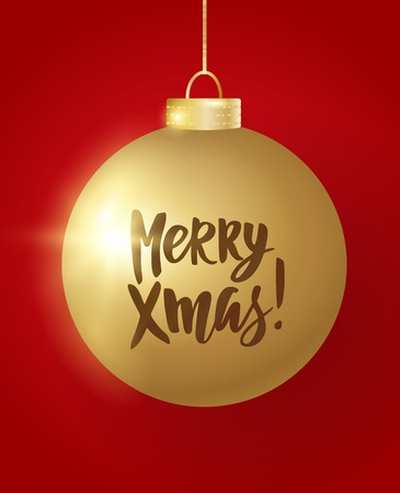 Hanging Christmas ball on red background. Merry Xmas hand drawn letters. Sparkling golden glitter bauble