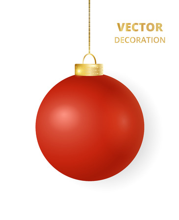 Hanging red Christmas ball. Mat gloss metal bauble, holiday decoration. Stock fotó