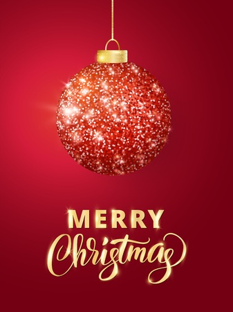 Holiday background. Hanging Christmas red ball on red. Sparkling metal glitter bauble. Merry Christmas hand drawn text Stock fotó