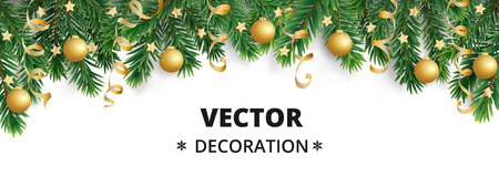Winter holiday background. Border with Christmas tree branches. Garland, frame with hanging baubles, streamers Stock fotó - 114740362