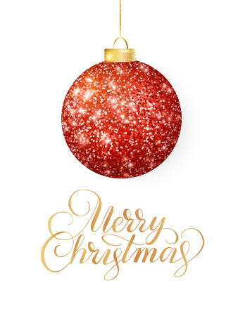 Hanging Christmas red ball isolated on white. Sparkling metal glitter bauble. Merry Christmas hand drawn text