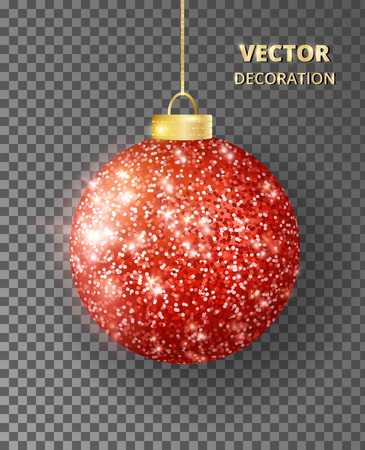 Hanging Christmas red ball isolated. Sparkling glitter texture bauble, holiday decoration