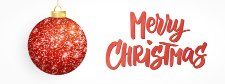 Hanging Christmas red ball isolated on white. Sparkling metal glitter bauble. Merry Christmas hand drawn text Stock fotó - 114740368
