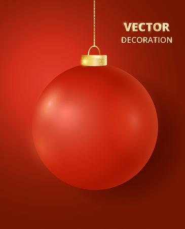 Hanging Christmas ball. Mat gloss metal bauble, holiday decoration.