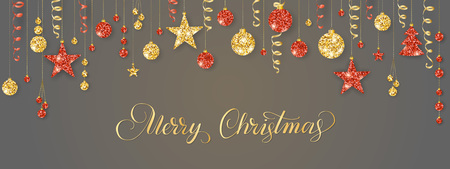 Christmas garland. Red and gold glitter bauble ornaments. Merry Christmas calligraphy