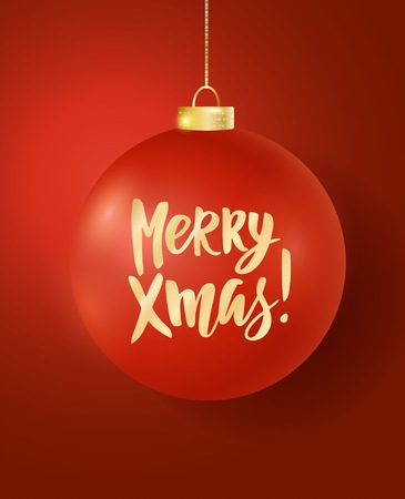 Hanging Christmas ball on red background. Merry Xmas hand drawn letters