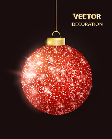Hanging Christmas red ball on black background. Sparkling glitter texture bauble, holiday decoration Stock fotó