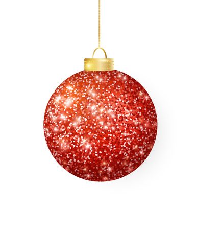 Hanging Christmas red ball isolated on white. Sparkling glitter texture bauble, holiday decoration