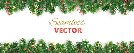 Seamless vector decoration isolated on white. Christmas tree frame, garland with ornaments Stock fotó - 114740476