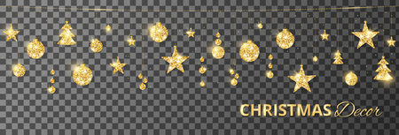 Christmas golden decoration isolated on transparent. Hanging glitter balls, trees, stars. Holiday vector frame for party posters, headers, banners. Winter season sparkling ornaments on a string.