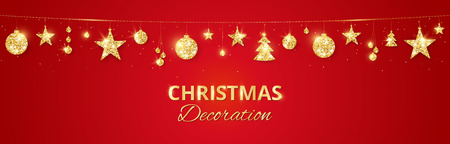 Christmas golden decoration on red background. Hanging glitter balls, trees, stars. Holiday vector frame for party posters, headers, banners. Winter season sparkling ornaments on a string.