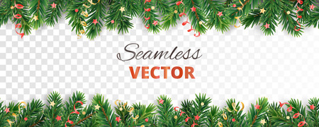 Seamless vector decoration isolated on white. Christmas tree frame, garland with ornaments
