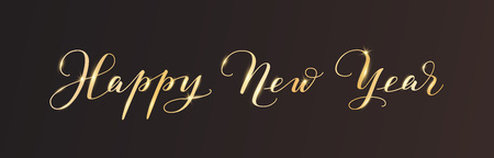 Happy New Year calligraphy on black background. Golden hand drawn text