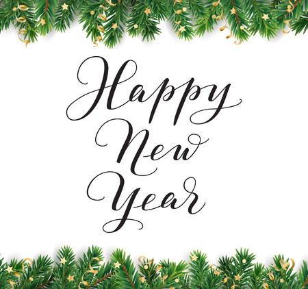 Happy New Year calligraphy. Christmas tree frame, seamless garland Illusztráció