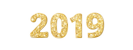 2019 glitter typography design. Golden sparkling numbers isolated on white background
