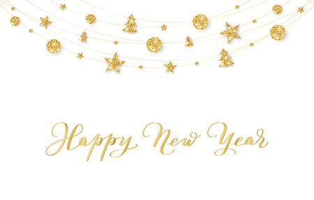 Background with Happy New Year hand drawn calligraphy. Christmas golden glitter decoration on a string Illusztráció