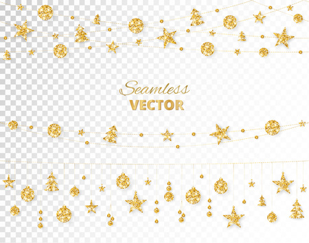 Christmas golden decoration isolated on white background. Hanging glitter balls, trees, stars. Holiday vector frame for party posters, headers, banners. Winter season sparkling ornaments on a string. Illusztráció