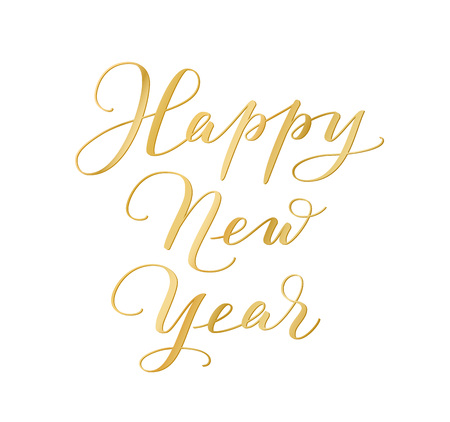 Happy New Year calligraphy isolated on white background. Golden hand drawn text Illusztráció