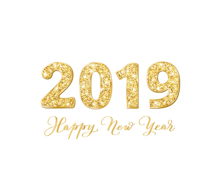 2019 glitter typography design. Happy New Year text, calligraphy. Golden sparkling numbers isolated on white