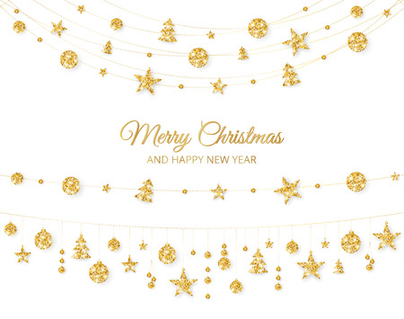 Christmas golden decoration isolated on white background. Holiday vector frame, border. Illusztráció